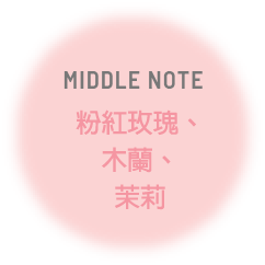 MIDDLE NOTE 粉紅玫瑰、木蘭、茉莉